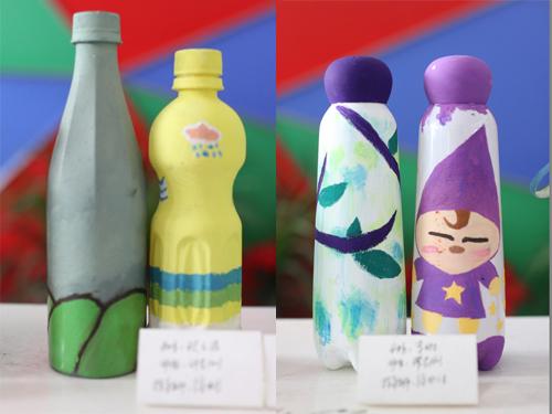 学生瓶子彩绘作品展示